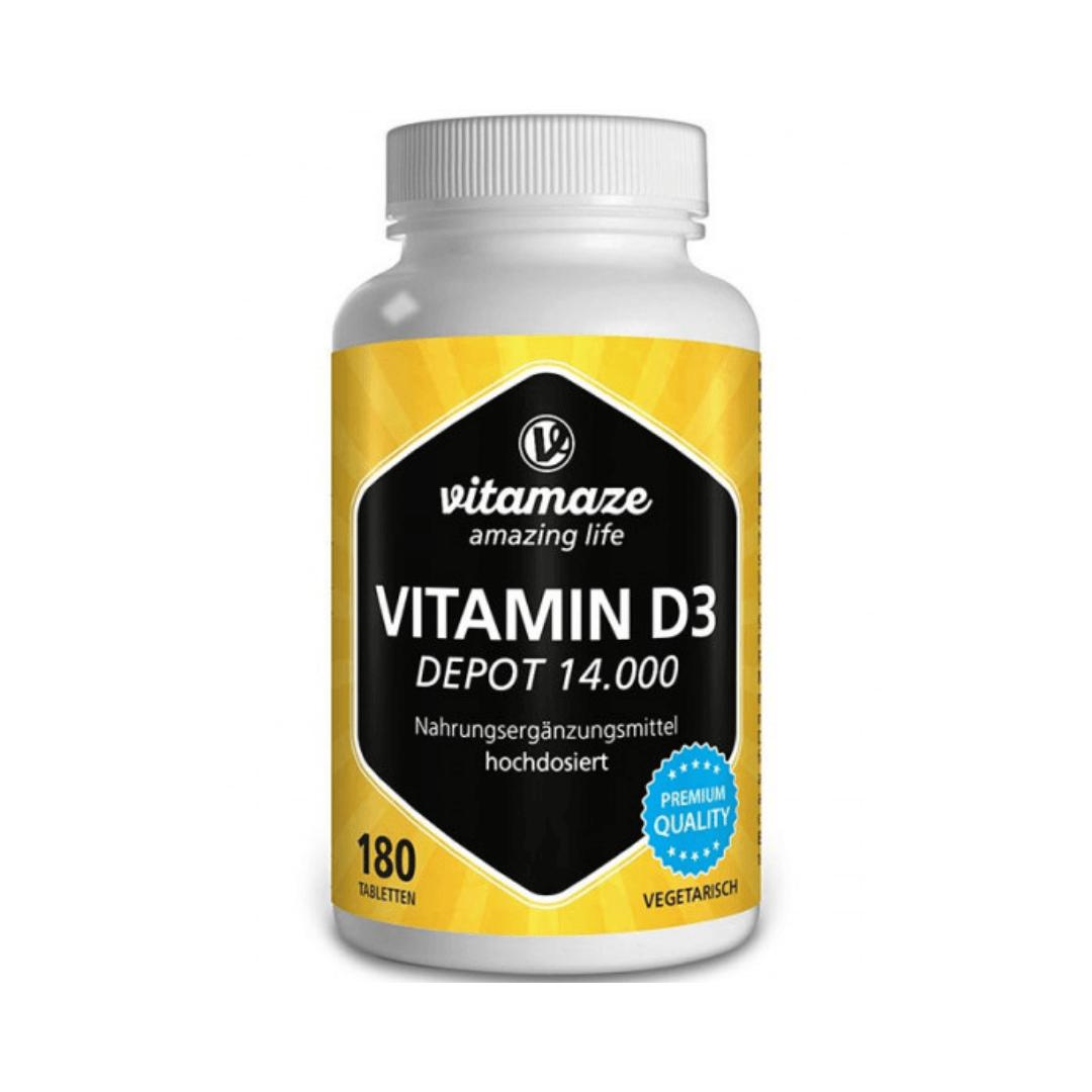 Vitamin D3 Depot 14.000 IE hochdosiert, 180 vegetarische Tabletten